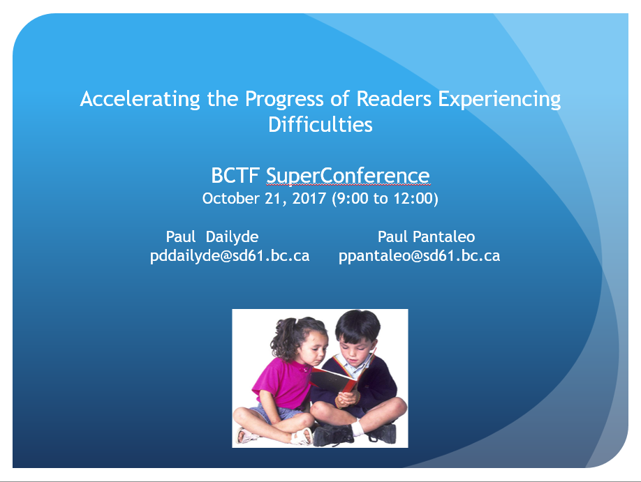 SuperConference - Accelerating the Progress of Children Experiencing Difficulties in Reading