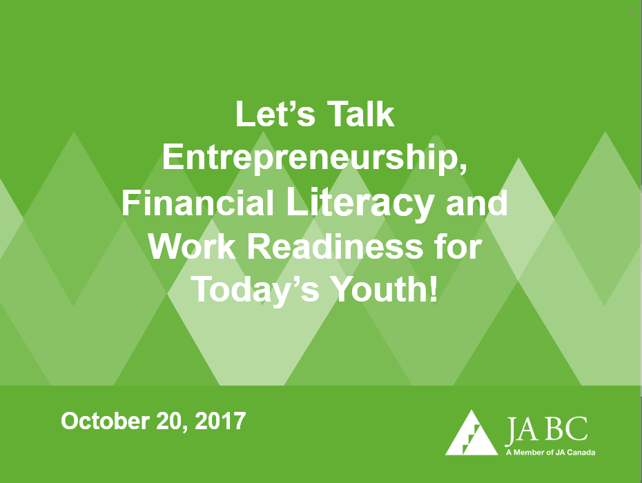 Let's JUNIOR ACHIEVEMENT: Talk Entrepreneurship, Financial Literacy And Work Readiness For Today's Youth!